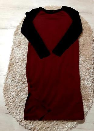 Трикотажне бордове плаття з чорними рукавами