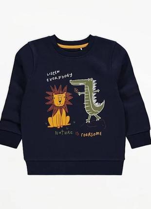 Теплая кофта свитер свитшот с флисовой байкой внутри george (великобритания)