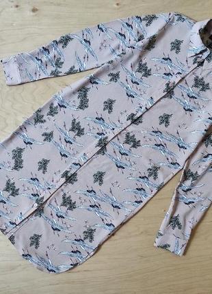 Стильное  платье рубашка  с птицами  прямого кроя atmosphere