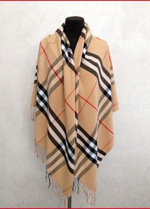 Элитный кашемировый платок палантин шаль шарф pashmina клетка бежевый