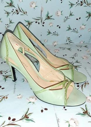 🌿1+1=3 стильные кожаные мятные туфли с открытым носком nine west, размер 40 - 41