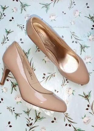 🎁1+1=3 шикарные фирменные нюдовые лаковые туфли лодочки marks&spencer, размер 39