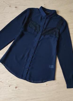 Шифоновая блузка рубашка с кружевом  river island в отличном состоянии
