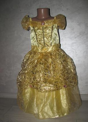 """Платье с плащ-накидка «белль» """"красавица и чудовище"""" disney princess р.5-6/116"""