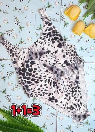 🎁1+1=3 стильный сдельный сплошной купальник в леопардовый принт, размер 48 - 50