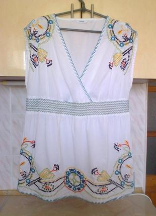 Натуральная легкая блуза вышиванка на запах, пояс на широк резинке, коттон