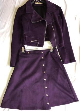 Костюм кофта+юбка замшевый