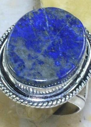 Кольцо с природным ляпис лазуритом, в серебре, индия, размер 20