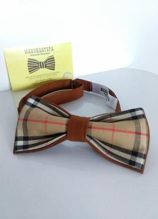 Стильный галстук бабочка в стиле бэрбери. метелик чоловічий.
