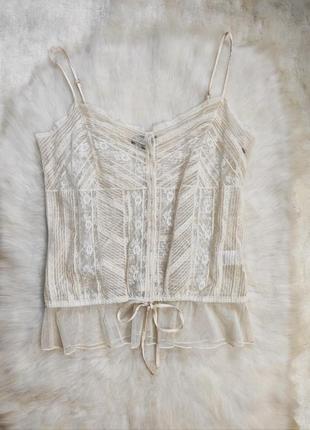 Белая айвори кремовая ажурная майка блуза гипюр шелковая кружевом бретелями