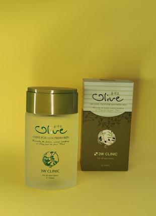 Тонер с оливкой для мужчин 3w clinic olive for man fresh skin