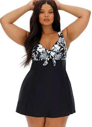 Сдельный цельный купальник платьем с юбкой черный цветочный принт с утяжкой батал