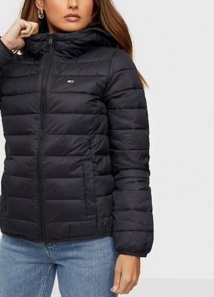 💥1+1=3 фирменный женский черный пуховик куртка tommy hilfiger пух/перо, размер 42 - 44