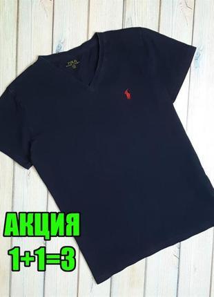 💥1+1=3 базовая фирменная женская синяя футболка ralph lauren, размер 44 - 46