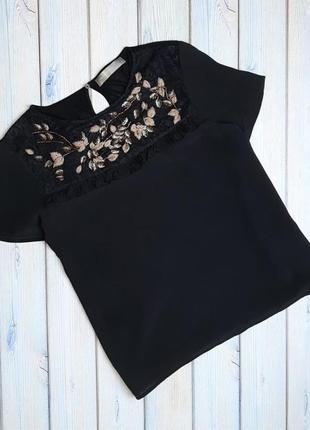 💥1+1=3 шикарная черная футболка блузка с вышивкой 100% шелк, размер 44 - 46