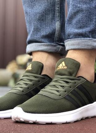Мужские кроссовки хаки adidas {темно/зелёные с белым} адидас