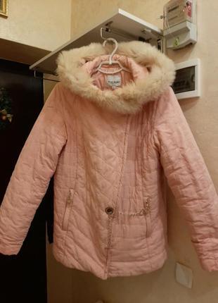 Розовая комфортная курточка с капюшоном