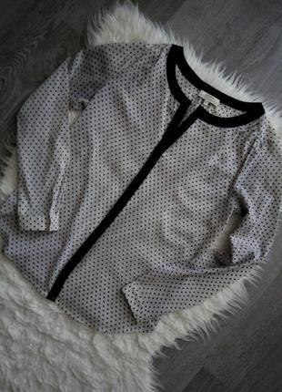 Изумительная трендовая кремовая блуза-рубашка в горох papaya