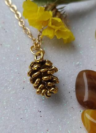 Кулон соснова шишечка сосновая  еловая шишка - цвет  античное золото + цепочка