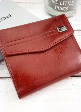Женский кожаный кошелек красный на кнопке rovicky cpr-006-bar