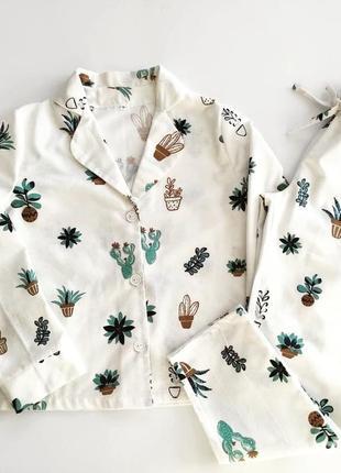 Теплая фланелевая пижама с рубашкой