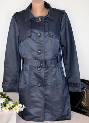 Брендовый синий плащ тренч с поясом и карманами philosophy blue