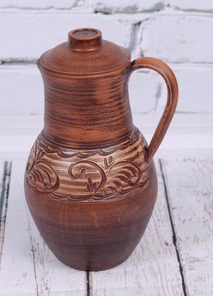 Крынка глиняная посуда из глины кувшин глечик кринка для молока напитков глиняний посуд
