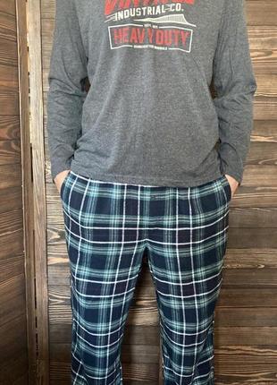 Теплая мужская пижама с байковыми штанами , домашний костюм livergy германия