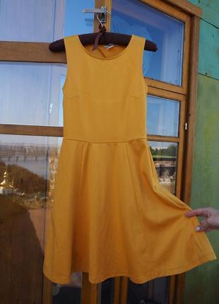 Горчичное трикотажное платье h&m 👘