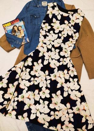 Papaya платье миди большое батал синее черное белое в цветочный принт классическое