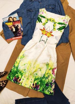 Flam mode платье белое в цветочный принт новое с биркой
