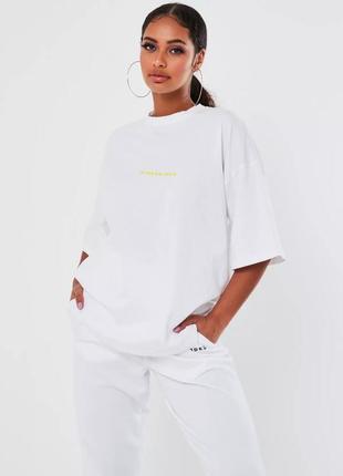 Missguided футболка белая с принтом базовая большая свободная оверсайз новая
