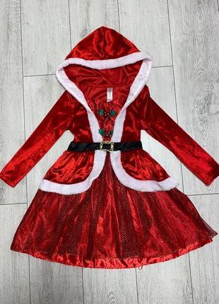 Новогоднее платье «мисс санта» george р.7-8/128см.