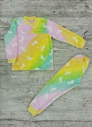 Теплая пижама для девочки радуга {велсофт}