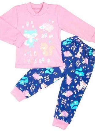 Пижама комбинированный интерлок с рисунком розового цвета