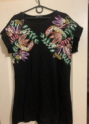 Платье чёрное с цветами zara