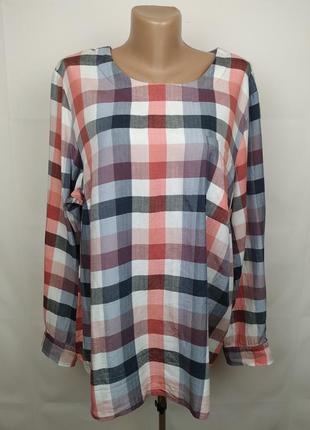 Блуза рубашка модная оригинальная в клетку большого размера gerry weber uk 22/50/4xl