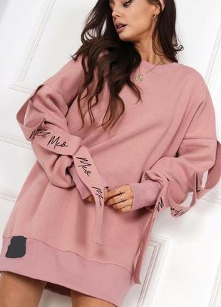 Платье -туника розовый -чёрный oversize 🔝