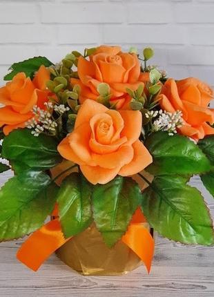 Букет цветов из мыла. ароматическая композиция. роза эльфийка.