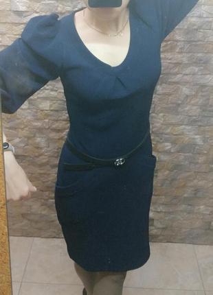 Платье фактурное миди синее с пышными рукавами molegi