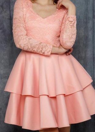 Нарядное платье с воланами на юбке и кружевом. есть цвета. распродажа 💋