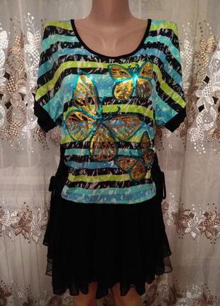 Полосатая кофточка футболка с бабочками пайетки mario rossi короткий рукав