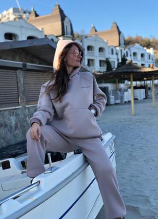 Теплый женский спортивный костюм оверсайз турецкий футер трехнитка с начесом