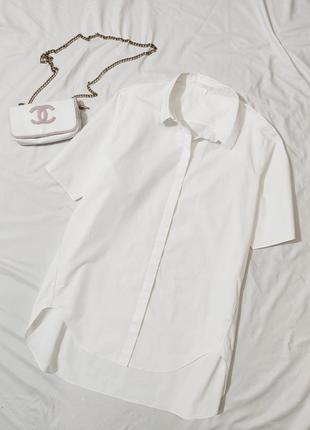 Невероятная белая котоновая рубашка cos eur 42