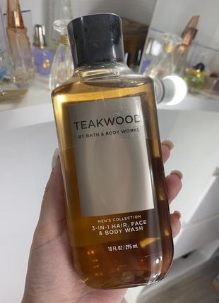 Мужской 2-в-1 шампунь для волос + гель для душа teakwood bath&body works