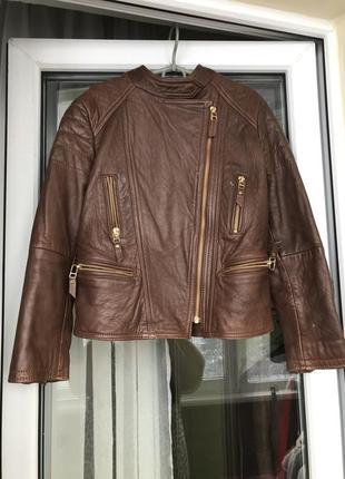 Кожаная куртка косуха 100% кожа massimo dutti zara