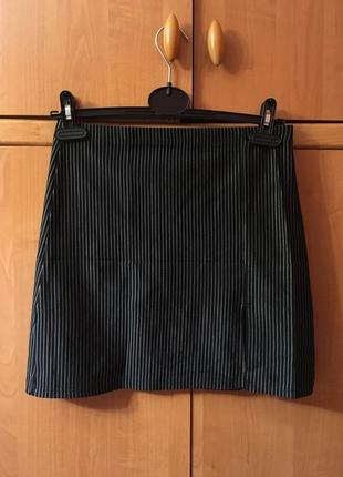 Костюмная юбка трапеция в полоску строгая деловой стиль