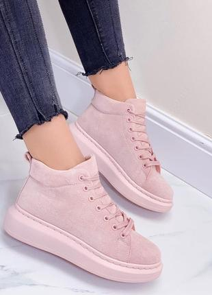 Высокие кроссовки светло-розовые, эко замша