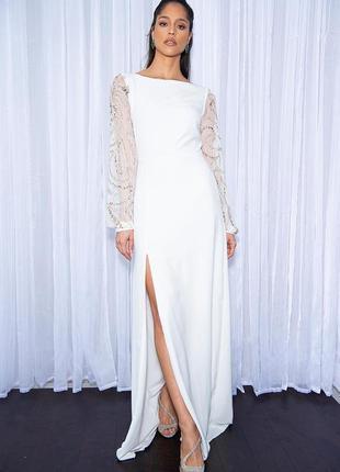 Virgos lounge свадебное , вечрнее , выпускное белое платье макси 🌼