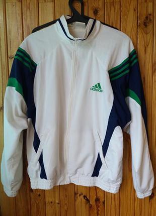 Легкая куртка олимпийка на молнии адидас белая